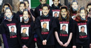 Friends and former colleagues of  human rights worker Abdulhadi Al-Khawaja,  protesting in Dublin over his imprisonment in Bahrain following the repression of pro-democracy protests. Photograph: Dara Mac Dónaill/The Irish Times