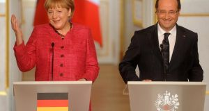 German Chancellor Angela Merkel and French President Francois Hollande:  will present at a key EU summit this month.  Photograph:  Antoine Antoniol/Getty Images