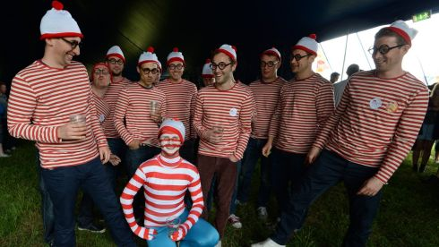 Richard Hairsine seated  from Brighton with members of his stag party  enjoying the Forbidden Fruit  festival at the Royal Hospital Kilmainham at the weekend. Photograph: Cyril Byrne / THE IRISH TIMES