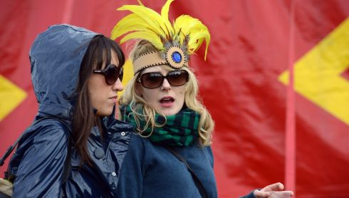 Carol Donoghue left from Donegal and Deirdre Hynds, Westmeath  enjoying the Forbidden Fruit  festival at the Royal Hospital Kilmainham at the weekend. Photograph: Cyril Byrne / THE IRISH TIMES