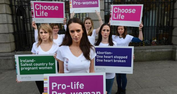 Pro-Life Campaign supporters in a protest outside the Dáil last year. Photographer: Dara Mac Dónaill