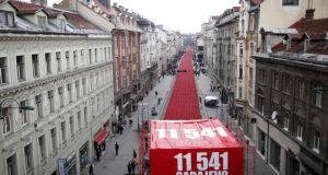 "11,541 red chairs pictured along Titova street in Sarajevo on April 6th, 2012, as the city marked the 20th anniversary of the start of the Bosnian war. ""As Croatia prepares to join the EU on July 1st and surrounding countries, notably Serbia, move closer to membership, Bosnia faces increasing marginalisation."" Photograph: Dado Ruvic/Reuters"