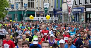 The Cork City marathon start line this morning.  Photograph: Clare Keogh