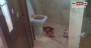 Video grab showing the aftermath of the shooting of Reeva Steenkamp in the bathroom of paralympian Oscar Pistorius's Pretoria home. Photograph: Sky News/PA Wire