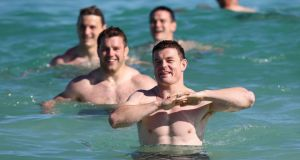 Brian O'Driscoll during a recovery session at City Beach, Perth. Photograph: David Davies/PA Wire.