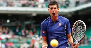 Novak Djokovic of Serbia on his way to beating  Philipp Kohlschreiber  at the French Open yesterday. Photograph: Vincent Kessler/Reuters