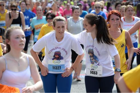 Hazel Pearle and Claudia Donaghey (right) at the Flora Womens Mini Marathon in Dublin. Photographer: Dara Mac D'ónaill/The Irish Times