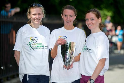 Siobhan O'Doherty (centre)  after winning the 2013 Flora Women's Mini Marathon, with second placed Fiona Roche (right) and third placed Maria McCambridge (left). Photograph: Inpho/Morgan Treacy