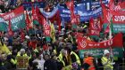 Workers march at an ICTU-organised anti-austerity march in Dublin. European trade unions want a major investment programme to restore growth and create jobs. Photograph: Brenda Fitzsimons