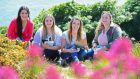 From left: Ciara Kirwan from Glenagerary, Orlaith Styles from Dalkey, Laura O'Carroll from Killiney and Ellen Boyd from Glenageary enjoy the sunshine and some last-minute study for the Leaving Certificate exams, at Dalkey, Co Dublin, yesterday. Photograph: Eric Luke