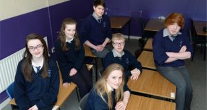 Leaving Certificate students at Dunshaughlin Community College in Co Meath – from left: Linda McCormack, Catherine Vance, Stuart Bridgett, Sarah Keane, Albert Wilkinson and Aaron Gilmartin. Photograph: Dara Mac Dónaill