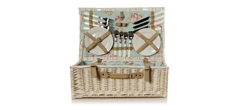 This white wicker picnic hamper (34cm by 55cm by 20cm) is half price at €70 at Debenhams (debenhmas.ie). The basket includes four ceramic plates, four acrylic glasses and four plastic-handled knives, forks and spoons, and a plastic corkscrew. Also at Debenhams is a Mulberry two-seat sofa(74cm by 178cm by 93cm) reduced from €2,395 to €958 until June 24th. A three-seater (74cm by 190cm by 93cm) is down from €2,610 to €1,044, and a matching footstool (44cm by 105cm by 66cm) is reduced from €927 to €370.