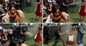 "A combination photo of a Turkish riot policeman using tear gas against Ceyda Sungur, ""the woman in red"", as people protest against the destruction of trees in a park  in Taksim Square in central Istanbul.   Photographs: Osman Orsal/Reuters"