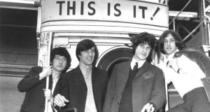 Pete Quaife, Mick Avory, Ray Davies and Dave Davies of The Kinks, at the London Transport Museum in 1964 (Photo by Chris Walter/WireImage)