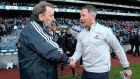 Westmeath Manager Pat Flanagan and Dublin Manager Jim Gavin shake hands after the game. Photograph: Ryan Byrne/Inpho
