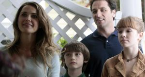 Least inquisitive children on earth?: Keri Russell, Keidrich Sellati, Mathew Rhys and Holly Taylor in The Americans