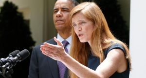 Samantha Power speaking in the Rose Garden of the White House after President Barack Obama made his announcement about her appointment. Photograph: Jason Reed/Reuters
