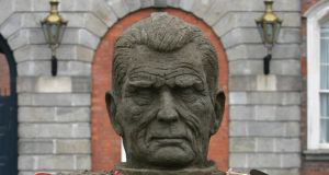 "'Beckett's cryptic reply took the form of a deft pun and two questions: ""Why don't I submit my Lafcadio Hernia to Irishman's Diary? Why is it customary to keep one's fly buttoned?"" And with that, apparently, the subject was closed.'  Above,  head of Samuel Beckett by  sand sculptor Niall Magee (from the Festival of Sand Sculpture at  Dublin Castle, 2007).  Photograph: Frank Miller"