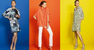 Above, left to right:  tree-print dress (€208); orange shirt (€84), high-rise jeans (€104); silk shirt dress (€208). All by Mary Portas at House of Fraser