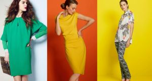 Above, left to right. Green dress (€176), by Mary Portas,  green fine-knit jumper (£60, houseoffraser.co.uk), by St Martins ; gold pouchette (€129), by Biba. Yellow twist-detail dress (€129). Oversized printed shirt (€129), paisley-print skinny jeans (€116), by Mary Portas. All at House of Fraser