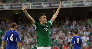 Republic of Ireland's Robbie Keane celebrates scoring his third goal of the game  at the Aviva Stadium. Photograph: Niall Carson/PA Wire