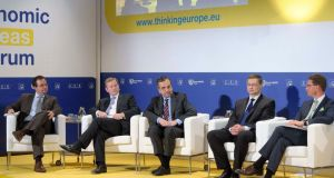 Taoiseach Enda Kenny with moderator Peter Spiegel (left) and Antonis Samaras of Greece, Valdis Dombrovskis of Latvia and Jyrki Katainen of Finland at the Economic Ideas Forum in Helsinki on Friday. Photograph: Reuters