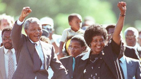This file photo shows  Nelson Mandela and his then wife Winnie saluting well-wishers as he leaves Victor Verster prison, February 11th, 1990.  Photograph: Ulli Michel/Reuters