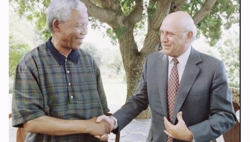 The then South African President Nelson Mandela shakes hands with his deputy and  last state president of apartheid-era South Africa F.W. de Klerk after a meeting between the two on January 20th, 1995. Mr Mandela and Mr de Klerk said  they had cleared up misunderstandings sparked by apartheid-era indemnities that had threatened the government of national unity. Photograph: Shawn Baldwin/Reuters