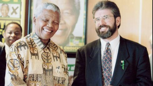 Then South African president Nelson Mandela  meets with Sinn Féin leader Gerry Adams at the African National Congress headquarters in Johannesburg in 1995. The meeting was part of discussions between the Sinn Féin leadership and leaders of all political parties in South Africa. Photograph: Juda Ngwenya/Reuters