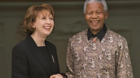 The fomer president of South Africa meets then president of the Republic of Ireland Mary McAleese at Áras An Uachtaráin in April 2000. Photograph:  Matt Kavanagh/The Irish Times