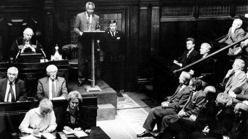 Listening to Mr Mandela addressing the Dáil in July, 1990, were the Ceann Comhairle, Mr Seán Treacy (top left), and (on right) the Taoiseach, Mr Charles Haughey, and members of his cabinet.  Photograph: Frank Miller/The Irish Times
