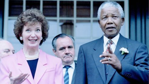 The then president of South Africa Nelson Mandela chats with President Mary Robinson in the garden of Tuynhuis, his Cape Town office, March 26th, 1994. Mrs Robinson was the first President of Ireland to visit South Africa. Photograph: Mike Hutchings/Reuters
