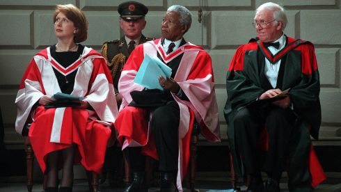 Then president Mary McAleese with Mr Mandela, and  Sir James Black, upon their conferral with honorary degrees in Dublin in 2000. Photograph: Eric Luke/The Irish Times