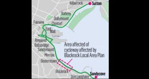 A map showing the area of cycleway affected by the Blackrock Local Area Plan. Image: Irish Times Studio