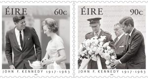 An Post's commemorative stamps featuring Mary Anne Ryan and the president, and President Kennedy laying a wreath at Arbour Hill