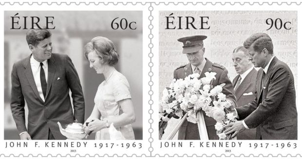 An Posts Commemorative Stamps Featuring Mary Anne Ryan And The President Kennedy Laying