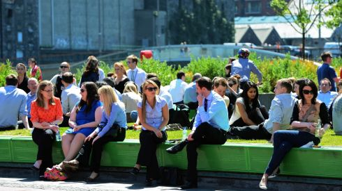 As temperatures rose we grabbed some sunshine whenever we could ... people pictured last week outdoors at lunchtime, at Grand Canal Dock, Dublin.  Photograph: Eric Luke /The Irish Times
