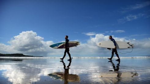 We cooled off on the water. Photographed are  brothers Howard and Edmund Salisbury  on Rossnowlagh strand in Co Donegal . Photograph: Bryan O'Brien / The Irish Times