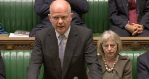 Britain's Foreign Secretary William Hague making a statement to the House of Commons. He  denied claims that British security agencies had been circumventing UK law by using information gathered on British citizens by PRISM, a secret US eavesdropping programme. Photograph:  Reuters/UK Parliament