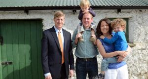 Patrick Kennedy (left), son of the late Senator Ted Kennedy, and Patrick Grennan, fourth cousin of President John F Kennedy,his wife Siobhan and children Eanna and Donagh, at the Kennedy Homestead and Visitor Centre, Dunganstown, New Ross, Co Wexford. Photograph: Eric Luke