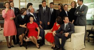 The Kennedys at their home in Hyannis Port, Massachusetts, on November 9th, the night after John F Kennedy won the 1960 US presidential election. Sitting, from left, Eunice Shriver, Rose Kennedy, Joseph Kennedy , Jacqueline Kennedy (head turned away from camera), and Ted Kennedy. Back row, from left, Ethel Kennedy, Stephen Smith, Jean Smith, John F. Kennedy, Robert F Kennedy, Pat Lawford, Sargent Shriver, Joan Kennedy and Peter Lawford
