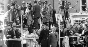 Film crews set up to record President Kennedy's Irish visit.