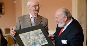 Bob Joyce, a grand-nephew of James Joyce, (left, with David Norris) has written a foreword to a new edition of Ulysses that uses the text of the first general Dublin edition of the work. Photograph: Frank Miller