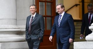 Bill Gates, founder of Microsoft, with Taoiseach Enda Kenny TD in January at Government Buildings, Dublin. The investment has been made via his charitable fund, the Bill & Melinda Gates Foundation. Photograph: Dara Mac Donaill/The Irish Times