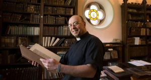 Very Rev Paul Draper at the newly renovated Cotton Library in St Carthage's Cathedral , Lismore, Co Waterford. Photograph: Patrick Browne