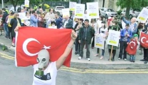 Protest over police brutality outside Turkish Embassy in Dublin