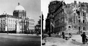 The Berlin City Palace, or Stadtschloss, occupied by Wilhelm II until 1918, seen before and after the second World War.