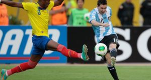 Lionel Messi in action during Tuesday's draw against Ecuador.