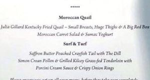 "The menu, from an event in support of former government minister Mal Brough's campaign for the Queensland seat of Fisher, featured a dish called ""Julia Gillard Kentucky Fried Quail – Small Breasts, Huge Thighs & A Big Red Box""."
