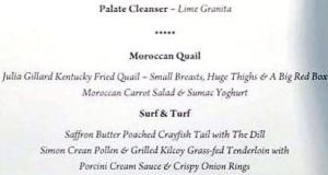 A menu card from a fundraising meal in Melbourne  which contained crude references to prime minister Julia Gillard.